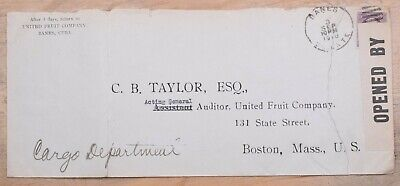 Mayfairstamps Habana 1918 Banes to Boston MA United Fruit Co Torn Censored cover