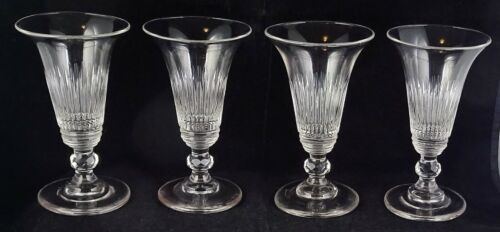 4 Early Antique Smooth Pontil Flared Trumpet Bowl Wine Glasses Cut Knop Stems