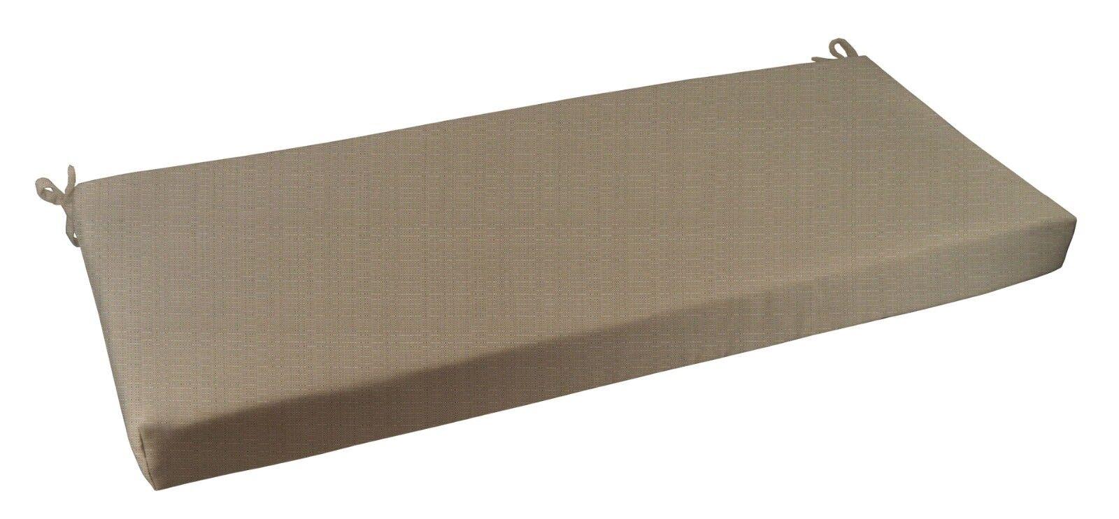 "Outdoor Bench Cushion Sunbrella Linen Champagne Fabric - 2"""