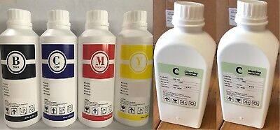 Dye Sublimation Bulk Ink Refill For Epson 4 Pack Cymk  2 Cleaning Sol.