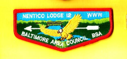 NENTICO Lodge 12-S  OA red bdr, Baltimore Area Council Boy Scout flap MD