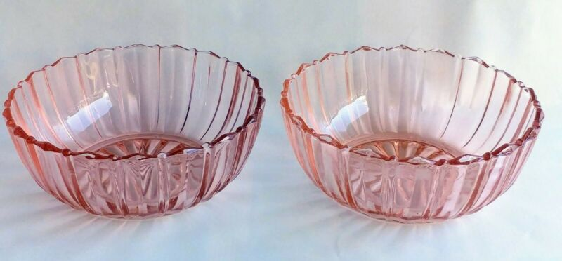 Anchor Hocking Pink Depression Glass Fortune Berry Dessert Bowls - Set of 2