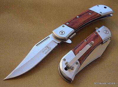 Elk Ridge Spring Assisted Brown Pakkawood Handle   Razor Sharp   Blade With Clip