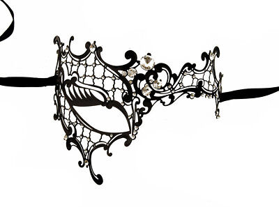 Mask from Venice Wolf Fantasy Venetian Lace Metal Black and Rhinestones 1207