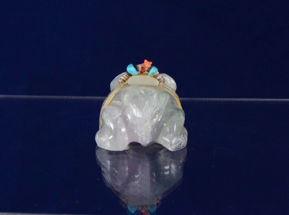 Zuni indian fetish stone carving rainbow fluorite frog by