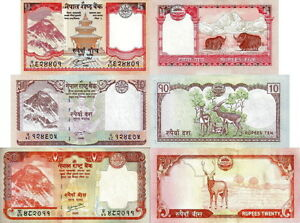 NEPAL-Lotto-3-banconote-5-10-20-Rupees-Everest-FDS-UNC