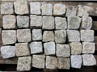 Garden Granite Cobble Setts, silver grey, approx. 100mm x 100mm x 100mm, 34 setts available