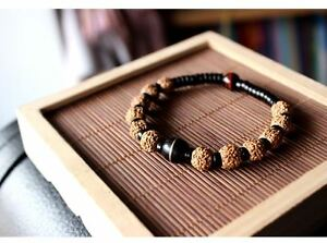 Himalayan-Rudraksha-Bracelet-in-Velvet-Pouch-FREE-P-amp-P-UK-Stock