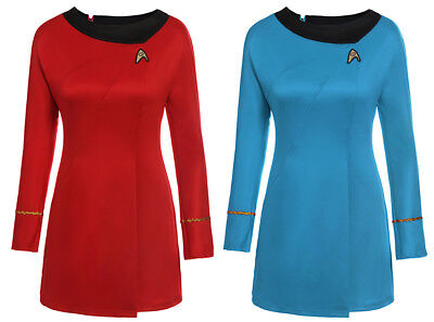 Star Trek Uniform TOS Blue&Red Adult Cosplay Party Halloween Dress Gown Costume - Star Trek Blue Dress