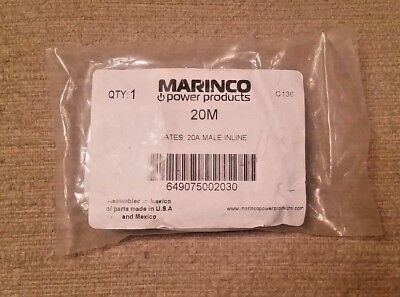 Marinco (20M) Bates Stage Pin (20A / 125V) Male Inline - Black Cover