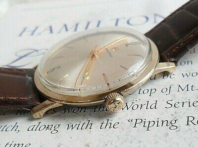 Clean Vintage Men's 1960's Hamilton 10k Gold Plated & S/S Mechanical Watch Runs