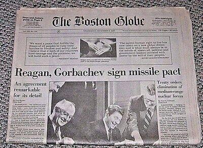 Boston Globe Reagan Gorbachev Sign Missile Pact December 9 1987 Soviet Treaty