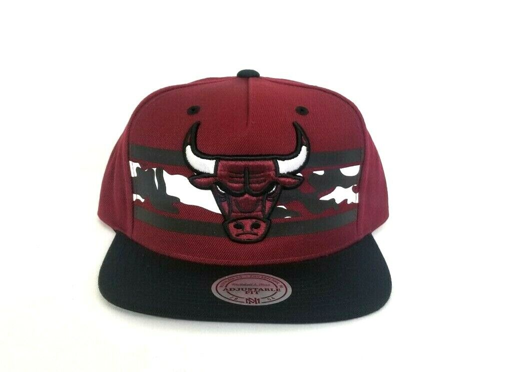 8cd1c6d22f8 Mitchell   Ness NBA Chicago Bulls Burgundy   Black snapback Adjustable Hat  Cap. Exclusive Fitted Ebay Store