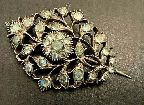 Georgian Antique Sterling Silver Brooch w Rose Cut French Paste Blue Stones BIN