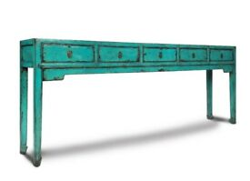 Large Aquamarine Handmade Wooden Chinese 5 Drawer Console table