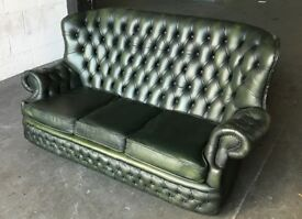 Vintage Green Leather Chesterfield 3 Seater Sofa .CAN DELIVER