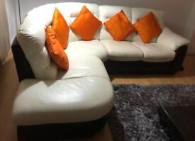 White and black leather corner suite for sale