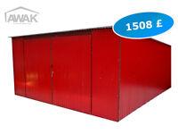 NEW Garage Metal Shed - 16,4ft (500cm) x 16,4ft (500cm) - Red