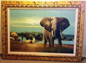 Framed Oil on Canvas of African elephants by C. Boswell, 1999 Broadbeach Waters Gold Coast City Preview