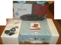 Sky Blue GPO Attaché Briefcase 3 Speed Turntable,Built In Speakers,USB Stick For Digital Conversion