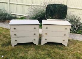 Pair of vintage, wooden chest of drawers