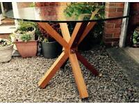 Aged Oak Circular Glass Table