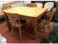 Rustic Solid Pine Farmhouse Kitchen Dining Table & Chairs **FREE DELIVERY** Shabby Chic(Beech Oak)
