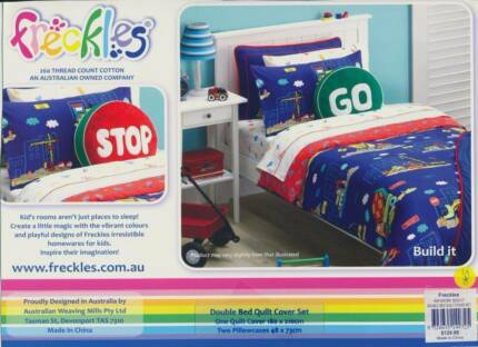 Digger Sheet Set KS & Double Doona Cover - near new - Freckles