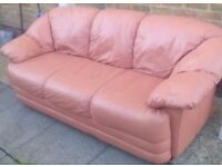 *****£20***** MODERN REAL SOFT LEATHER 3 SEAT SOFA EXTREMELY COMFORTABLE