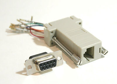 DB9 Female to RJ45 8 conductor Crimp Pinout Modular Adapter Connector