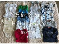 Baby Boy (0-3 month) clothing bundle * 18 ITEMS including Next and Disney Store*