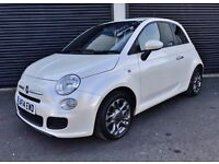2014 FIAT 500 S 1.2 PETROL *RARE METALLIC PEARL WHITE* ONLY 16K MILES FSH 1 OWNER FROM NEW