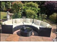 FREE DELIVERY BLACK GARDEN RATTAN CRESCENT SOFA WITH CUSHIONS & GLASS TOP TABLE GREAT CONDITION