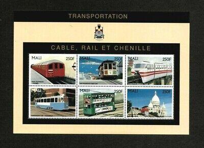 VINTAGE CLASSICS - Mali 1996 - Transportation Railways - Sheet of 6 Stamps - MNH