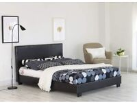 """EXPRESS DELIVERY- Double Leather Bed + 9"""" Deep Quilt Mattress -- Same Day Fast Delivery"""