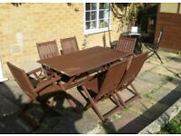 7 PIECE GARDEN TABLE AND 6 CHAIRS FURNITURE PATIO SET