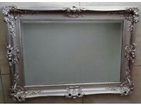 Beautiful solid wood silver coloured mirror