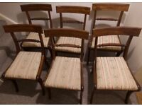 Set of 6 delightful antique Georgian dining chairs, Georgian dining table also available
