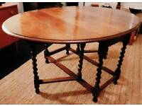 CAN DELIVER Nice solid oak vintage gate leg dining table with barley twist legs