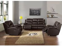 BRAND NEW ITALIAN LEATHER RECLINER SOFA SUITE IN BLACK OR BROWN - FREE DELIVERY