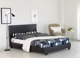 Popular Bed Frame - DOUBLE LEATHER BED IN BLACK/BROWN COLORS POPULAR CHOICE