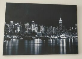 New York skyline at night, canvas