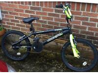 Kids Raleigh bmx needs new brakes and has slight rust and chips but rides well,