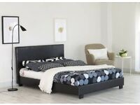 🎆💖🎆EASY TO ASSEMBLE🎆💖🎆FAUX LEATHER BED FRAME (GOOD DEAL WITH MATTRESS)