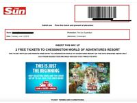 2 X CHESSINGTON WORLD OF ADVENTURES TICKETS - £25