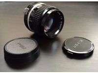 Nikkor 85mm f/2 vintage lens Nikon AI mount with a Canon adapter