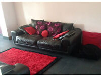 Large 3 Seater Leather Sofa's x2 for Sale (Great Condition, with Cushions, etc)