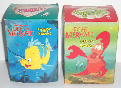 1989 Little Mermaid FLOUNDER AND SEBASTIAN Christmas Ornaments New In Box
