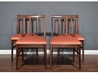 Stylish Set of 4 Vintage Midcentury A. Younger Afromosia Chairs. Delivery. Modern / Danish style.