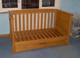mamas and papas ocean cot toddler day bed with mattress solid oak